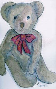 watercolor of Scotty, a teddy bear