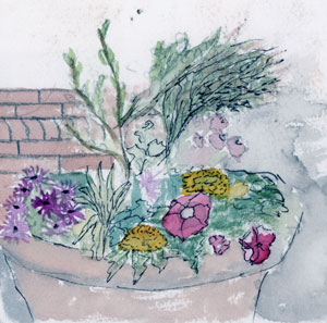 watercolor of a flower planter outside coffee shop