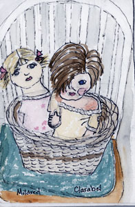 Mildred and Clarabel, two dolls in a basket