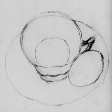 Drawing with an egg in its shell sitting on a saucer alongside the cup.