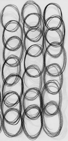 A page of overlapping pencil circles attempting to draw definitive eggs.