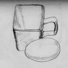 A square expresso cup and egg