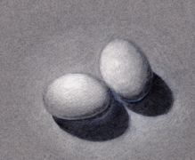 Drawn white eggs.