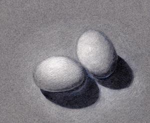 Drawn white eggs.