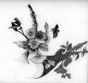 Drawing of a small flower arrangement.